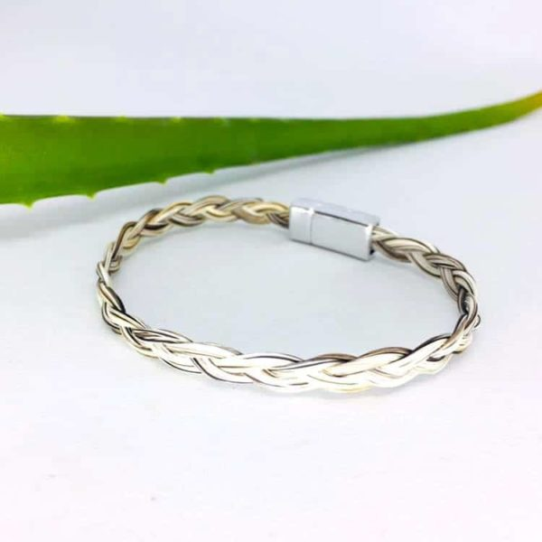 bracelet crin cheval fermoir aimanté tresse simple