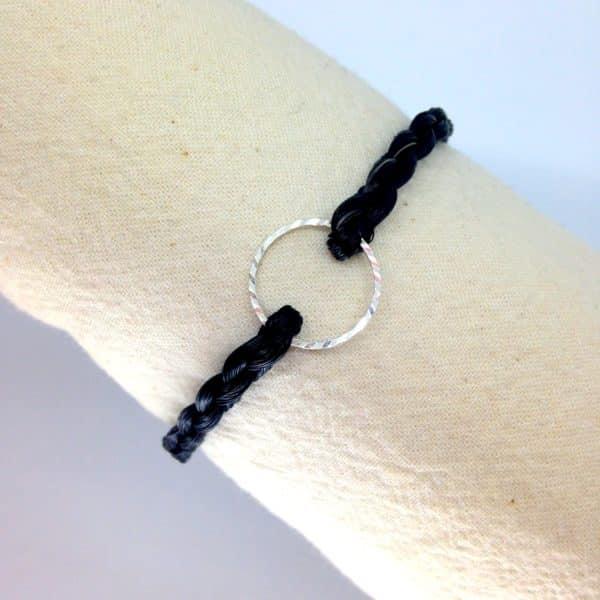 Bracelet crin de cheval avec Insert anneau