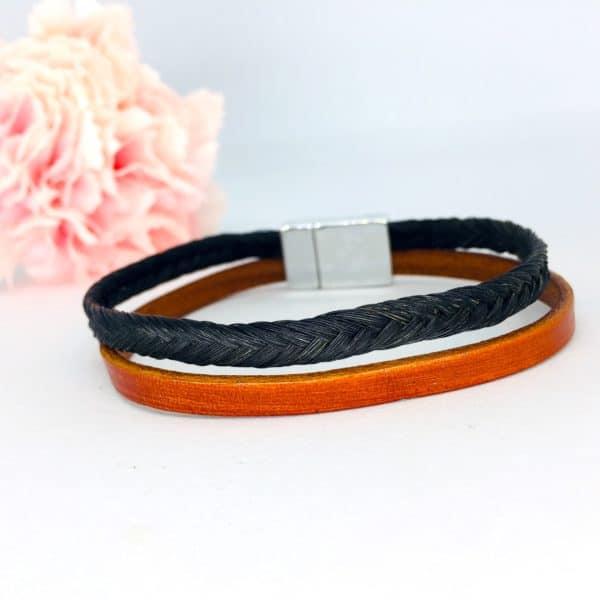 bracelet crin cheval paloubet tresse noir en épi