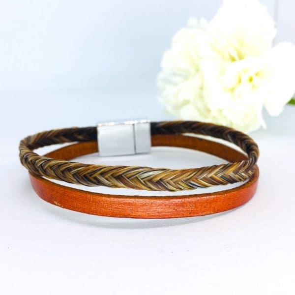 bracelet crin cheval paloubet tresse marron en épi